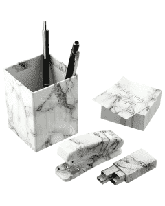 4 Piece Faux Marble Desktop Set